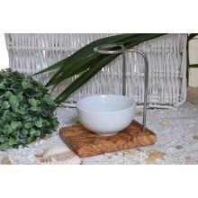Rasierpinselhalter DESIGN classic aus Olivenholz mit Porzellanschale rund 8,5 cm