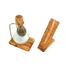 Olivenholz Rasierset DESIGN 4-teilig mit Nassrasierhalter, Dachshaar Rasierpinsel & Porzellanschale rund Ø 8,5 cm