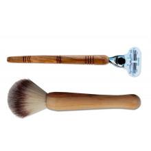 Schönheitsset aus Make-Up Pinsel Kunsthaar & Damen Rasierer mit Griff aus Olivenholz