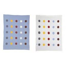 Babydecke Blau oder Weiss mit Punkten