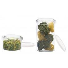 Glasdose mit Glas- und Kunststoffdeckel – verschiedene Größen