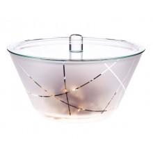 Glas Schüssel GLOBE 1,5 L mit Deckel – satiniert mit Streifen