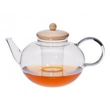 Teekanne MIKO mit Glassieb oder Edelstahlfilter oder Holzdeckel