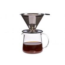 Kaffeebereiter POUR OVER für Zwei 0,5 Liter mit Edelstahlfilter