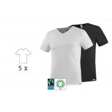 SoulShirt T-Shirt mit V-Neck, Fairtrade & Bio Baumwolle, 5er Pack, kleiderhelden