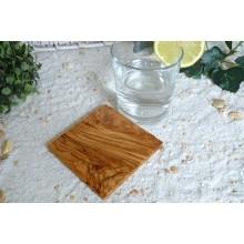 Untersetzer quadratisch aus Olivenholz, einzeln und im 6er Set