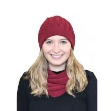 Alpaka Set Loopschal & Zopfmütze – 100% Baby Alpaka, rot