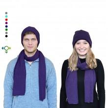 Alpaka Set Strickmütze & Schal – 100% Baby Alpaka, Unisex Design, Lila