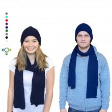 Alpaka Set Strickmütze & Schal – 100% Baby Alpaka, Unisex Design, Marine