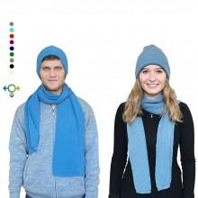 Alpaka Set Strickmütze & Schal – 100% Baby Alpaka, Unisex Design, Petrol
