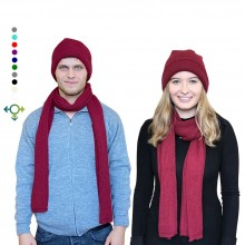 Alpaka Set Strickmütze & Schal – 100% Baby Alpaka, Unisex Design, Rot