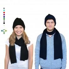Alpaka Set Strickmütze & Schal – 100% Baby Alpaka, Unisex Design, Schwarz