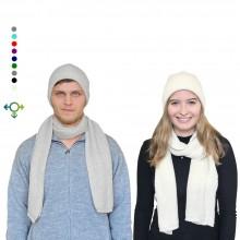 Alpaka Set Strickmütze & Schal – 100% Baby Alpaka, Unisex Design, Weiß