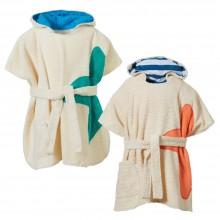 Kinder Badeponcho mit Kapuze und Gürtel aus Bio-Frottee