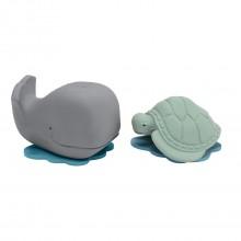 Badespielzeug Wal & Schildkröte aus Naturkautschuk, Hevea Geschenkset