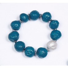 Armband Türkis mit Silber-Perle – Öko-Papier
