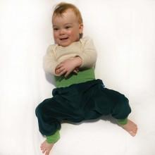Baby Gemütlichkeitshose Bio Nicki Smaragd/Lime-meliert
