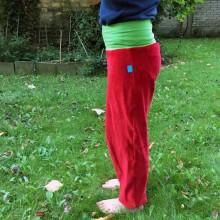 Kinder Gemütlichkeitshose Bio Nicki Rot/Grün