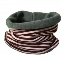 Winter Loop Schal Bio-Baumwoll-Jersey/Fleece Geringelt Creme/Braun