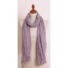 Schal in Beige-Weiß mit Sechseck-Muster und kurzen Fransen aus Bio Baumwolle