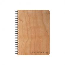 BRAINSTORMING Notizbuch mit echtem Kirschholzfurnier-Einband