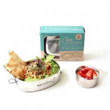 Edelstahl Bento Box Set – Brotdose Oval inkl. auslaufsicherer Minidose mit Silikondeckel, 2-teilig