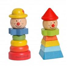 Clown mit Hut – Stapelspielzeug aus FSC Holz