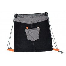 Gymbag Black Grey - Turnbeutel aus Jeans & Kord UNIKAT