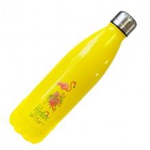 Dora's Thermosflasche aus Edelstahl in Gelb mit Flamingo-Aufdruck