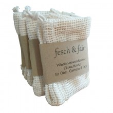 fesch & fair 50 Einkaufsnetze aus Bio-Baumwolle