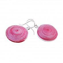 Ohrringe Ambikha Tie Dye aus handgeschöpftem Papier, Rot-Weiß
