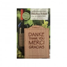 Flaschen-Etikett DANKE – THANK YOU – MERCI - GRACIAS aus Kirschbaumholz