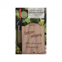 Flaschen-Etikett SPITZENJAHRGANG aus Kirschbaumholz