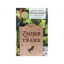 Flaschen-Etikett ZAUBERTRANK aus Kirschbaumholz