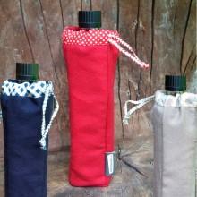Flaschentasche mit Doras Glasflasche – Flaschenhülle aus Bio-Baumwolle in verschiedenen Farben