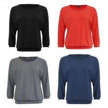 Fledermausshirt aus feiner Bio-Baumwolle in Coralle, Dunkelblau, Grau, Schwarz