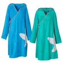 Bambus Frottee-Wickelkleid Damen Seegrün oder Karibikblau