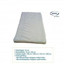 10 cm Füllkammer-Matratzen mit Getreideschalen-Füllung, 70cm oder 80cm Breite, verschiedene Längen