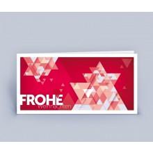 Weihnachtskarte Stern, edles Design, DIN lang im 5er Set, Rot