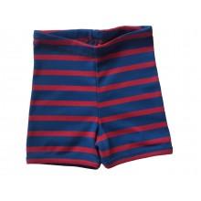 Unisex Kinder Shorts Bio Baumwolle Feinripp Shorts für Mädchen & Jungen, rot-blau gestreift