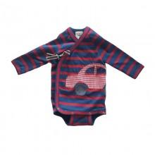 Bio Feinripp Baby Wickelbody, Langarm, rot-blau mit Auto