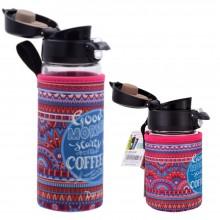 Kaffee Thermo-Glasbecher mit Einhandverschluss & Schutzhülle