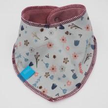 Nicki Wendehalstuch Blumen, Baby Dreieckstuch aus Bio-Baumwolle, Grau-Blau-Altrosa