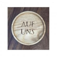 """Untersetzer """"Auf uns"""" Holz – massive Eiche – 2 Stück"""