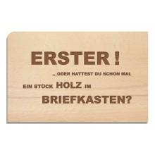 Holzpostkarte ERSTER – Grußkarte