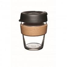 KeepCup Cork Almond 340 ml –  Nachfüllbarer Mehrwegbecher aus Glas mit Kork-Manschette