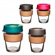 KeepCup Cork–  Nachfüllbarer Mehrwegbecher aus Glas mit Kork-Manschette