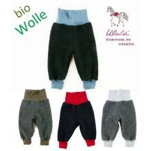 Wollfleece Pumphose aus Bio-Wolle Anthrazit mit farbigem Bündchen