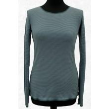 Langarmshirt Blaugrün-Grau geringelt mit Kontrastsaum von JALFE