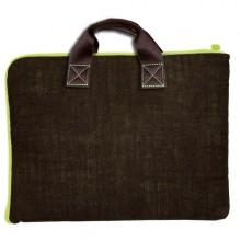 Tasche für Laptop / Notebook - Leinen – Schokolade/Grün– 13 und 15 Zoll